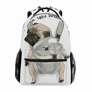 ALAZA Pug Dog Print Puppy Funny Quote Large Backpack