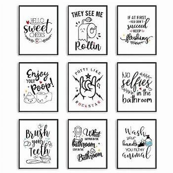 Bathroom Wall Decor Wall Art,Set of 9 Pictures,Funny Vintage