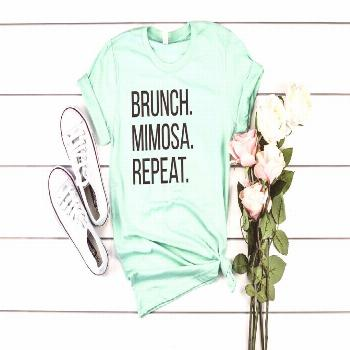 Brunch. Mimosa. Repeat. T-Shirt Brunch Life Top FREE | Etsy