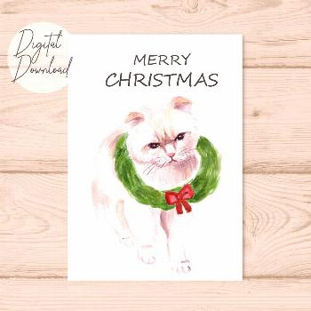 Cat Christmas Card, Grumpy Cat Card, christmas cards funny, Card for boyfriend,Card for girlfrien,P