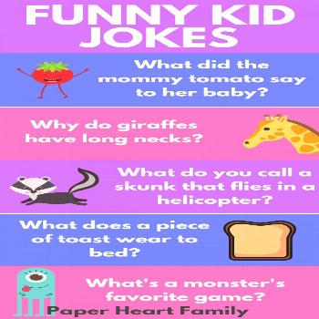 Funny kid jokes that you can share with your children. Perfect for in the car, or waiting in the do