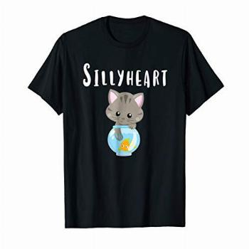 Sillyheart T-Shirt Funny Kitty Cat Fish Adult Kids Childrens