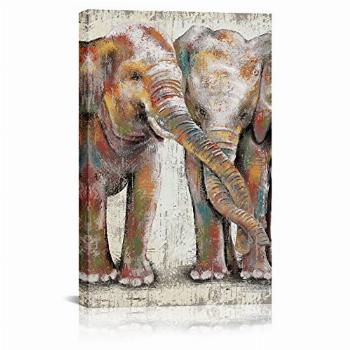 SkenoArt Elephant Canvas Wall Art Brown and Color Funny Baby