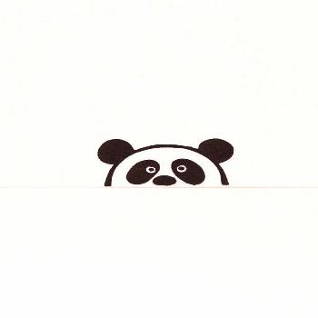 Suspicious  peek-a-boo panda stamp kids gift - hand carved simple rubber stamp - funny animal stamp