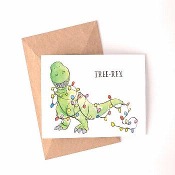 Tree-Rex Digital Download Christmas Card | Watercolor | Holiday Card | Dinosaur | Tree-Rex | Printa
