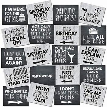 UP THE MOMENT Birthday Photo Booth Props - 20 Designs, 8x10,