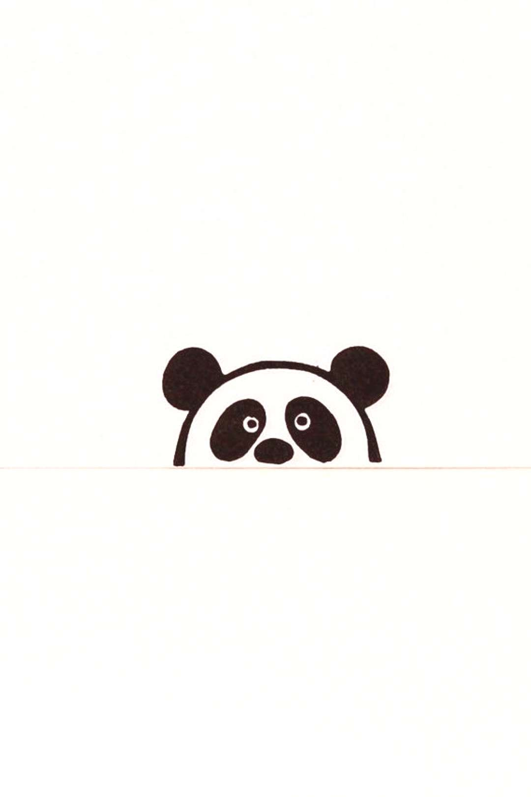 A small rubber stamp of a primitive simple peek-a-boo panda bear who looks at you a little bit susp