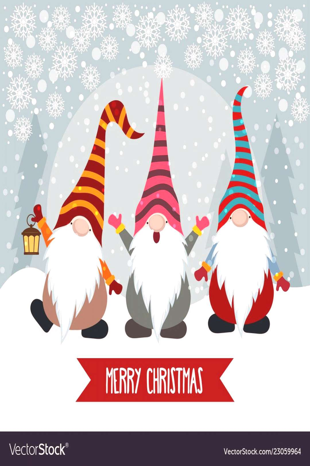 Christmas card with funny gnomes Royalty Free Vector Image