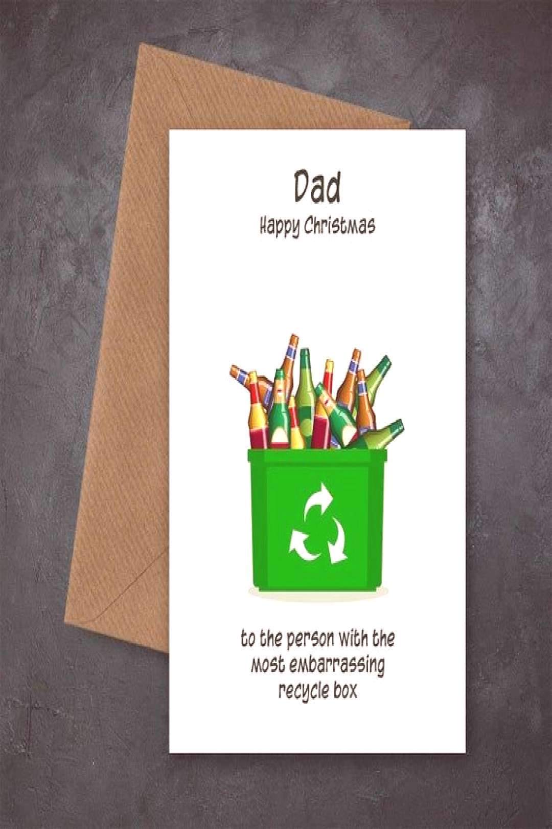 Funny Christmas Card for Dad - Dad Christmas Cards - Embarrassing Recycle Box - Fun card for any fa