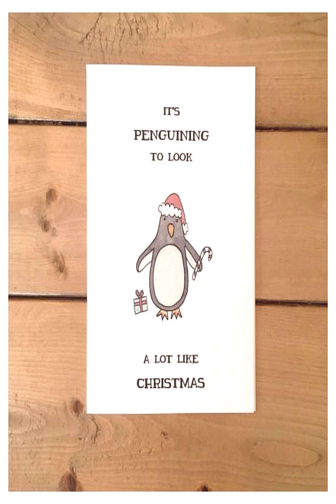Penguin Christmas Card // christmas card, holiday card, cute christmas card, punny card, funny chri