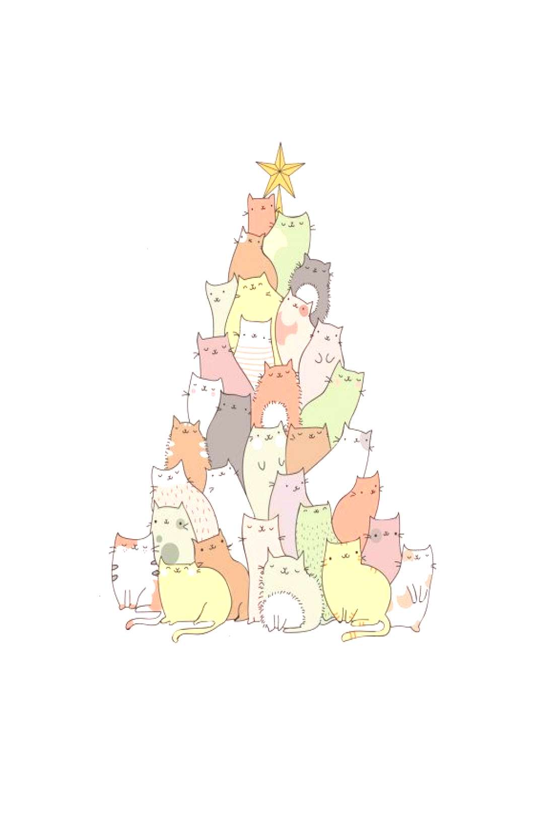 This adorable Christmas card features a Christmas tree spilling over with cute, cheeky cats. This c