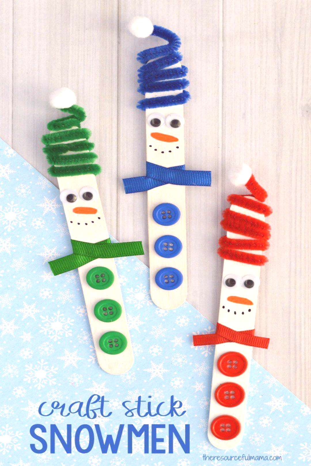 This Craft Stick Snowman with a fun spiral pipe cleaner hat is a really cute craft kids can make th
