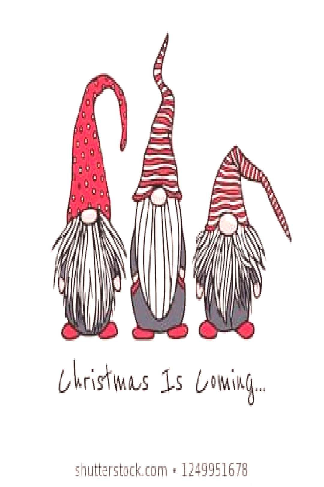 Vector Christmas card with hand drawn cute nisse in high caps. Ink drawing, funny illustration, bea